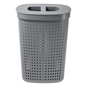 A laundry basket in an oval shape has 60,8L and it is made of plastic in a Tradewinds color, with a modern, elegant design. Photo is taken from the front.