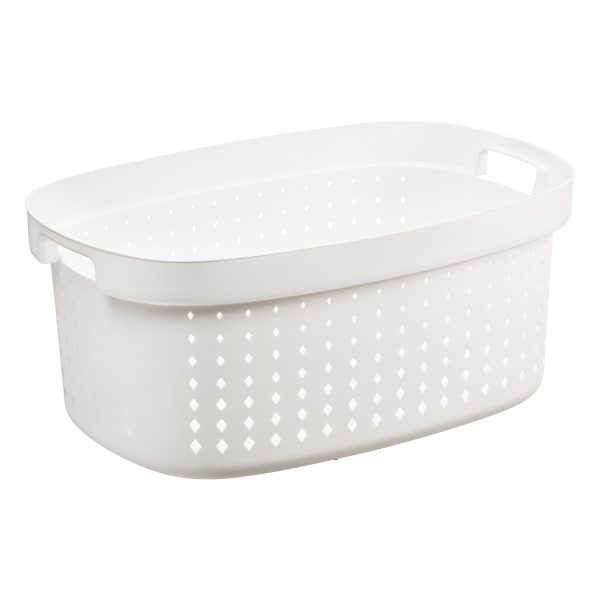 A linen basket in an oval shape has 41.9L. It is made of white plastic with a modern, elegant design.
