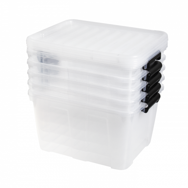 Value Pack of five 30L Home Box storage boxes made of translucent material with black clips. Containers have a classic, simple design.