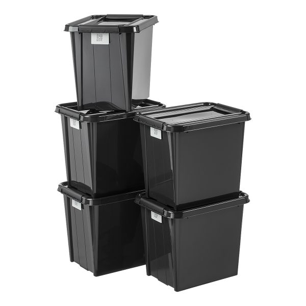 Value pack of five 53L Proboxes. Probox is series of premium storage boxes. They are stackable and made of black, post-consumer material material. All boxes are equipped with QR codes compatible with the BoxPointer app.