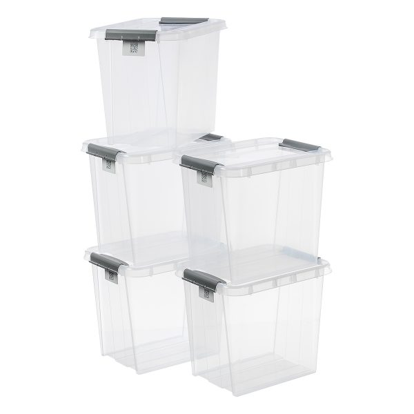 Value pack of five 53L Proboxes. Probox is series of premium storage boxes. They are stackable and made of translucent material. All boxes are equipped with QR codes compatible with the BoxPointer app.