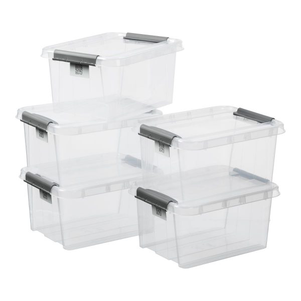 Value pack of five 32L Proboxes. Probox is series of premium storage boxes. They are stackable and made of translucent material. All boxes are equipped with QR codes compatible with the BoxPointer app.