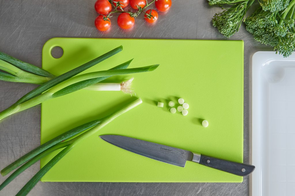 Cutting Board with a hole in a corner to give an option to hang while it is not in use. It is perfect to chop vegetables.