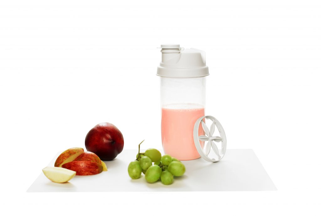 Quick Mixer, a shaker and measurement cup in one tool. It represents Food Preparation category containg everything from bag clips, dressing shakers and citrus squeezers to funnels and salad spinners.
