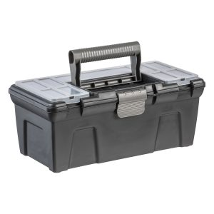 A black Tool Box with an insert and small click-closed containers in the lid.