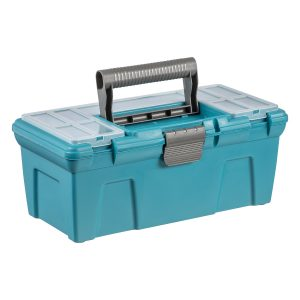 A green Tool Box with an insert tray and small click-closed containers in the lid.