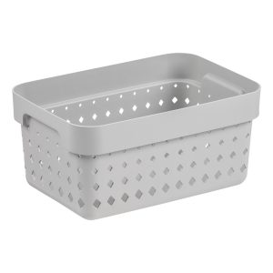 A small storage basket made of black plastic with a modern, elegant design.