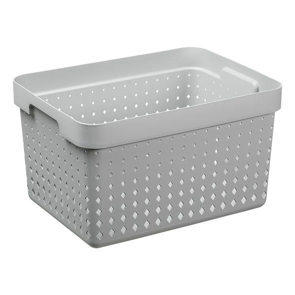 A large storage basket is made of grey plastic with a modern, elegant design.