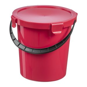 A red plastic bucket with a handle and a click-closed lid.