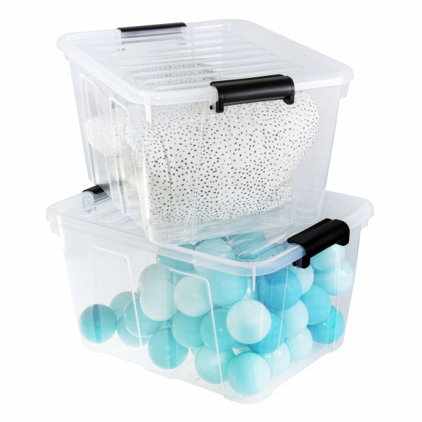 Home Box container made of clear material and clip-closed lid. It is ideal household storage.