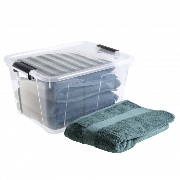 Home Box container made of clear material and clip-closed lid. It is perfect to keep your towels fresh and clean.