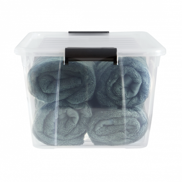 Home Box container made of clear material and clip-closed lid. It is perfect to keep your blankets fresh and clean.
