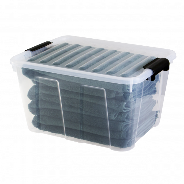 Home Box container made of clear material and clip-closed lid. It is perfect to keep your sheets, bedclothes, and towels.
