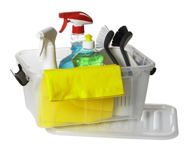 Home Box container made of clear material and clip-closed lid. It is an ideal cleaning accessories storage.