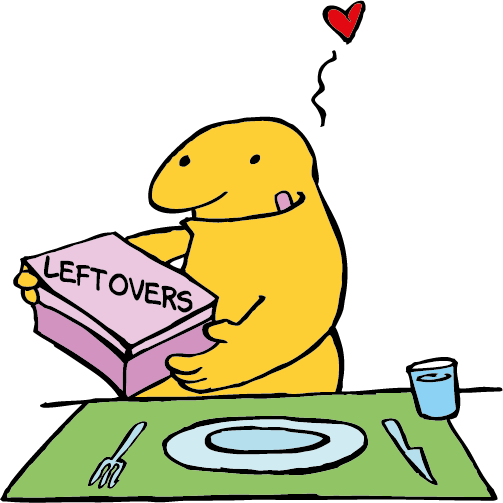 The cartoon character is going to eat his leftovers. He loves this idea.