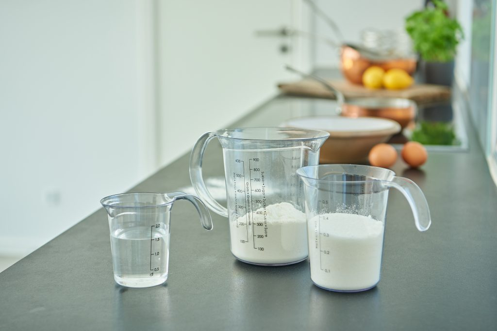 Palermo jugs in three different sizes fit every need. They are appropriate for food. Jugs stand on the tabletop.