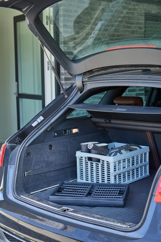 Stackable Folding Box is a perfect storage and transport solution. It can be folded completely flat when not in use. Two of these boxes are inside the car, one is folded while another is used as a sports equipment transporter.