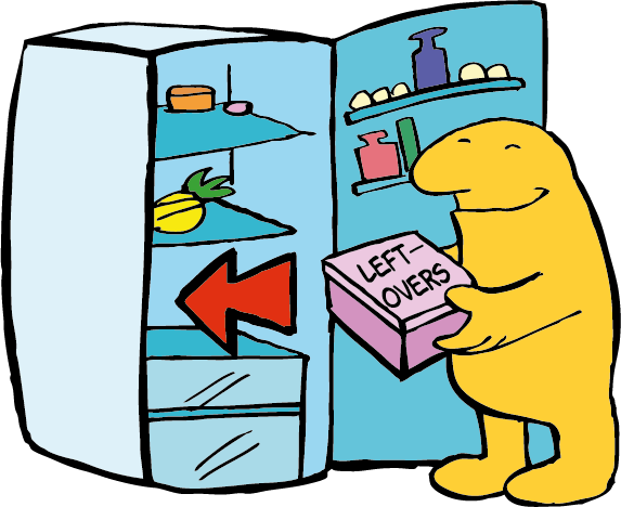 A cartoon character saves his leftovers in a refrigerator.