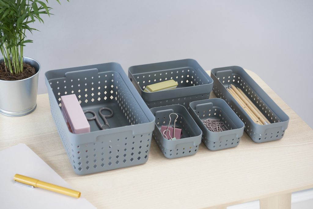 Complete Seoul Organizer system in grey color is used to arrange stationery on the desk.