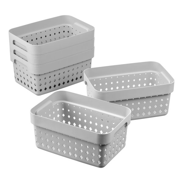 Value pack of 5 small Seoul baskets for storage in a cool gray color. They are made of post-consumer recycled material.