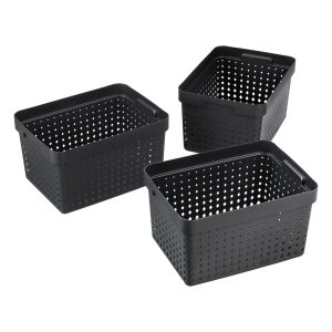 Value pack of 3 large Seoul baskets for storage in a black color. They are made of post-consumer recycled material.