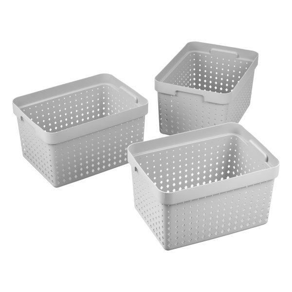 Value pack of 3 large Seoul baskets for storage in a cool gray color. They are made of post-consumer recycled material.