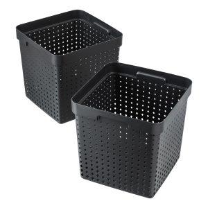 Extra large Seoul storage baskets, black, post-consumer material, 2 pcs