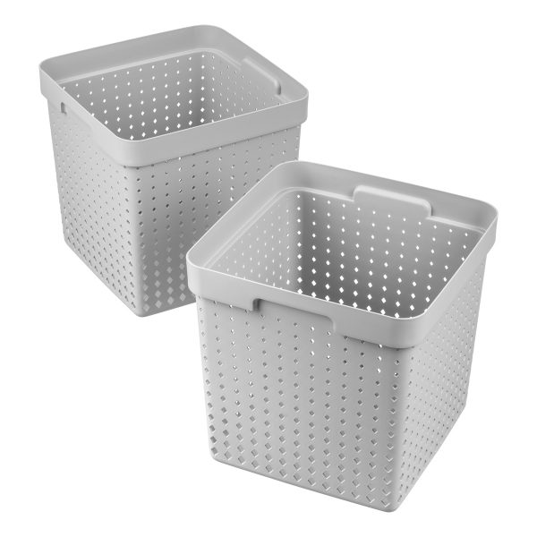 Value pack of 2 extra large Seoul baskets for storage in a cool gray color. They are made of post-consumer recycled material.